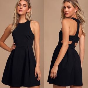 Lulus Cutout and About Black Skater Dress